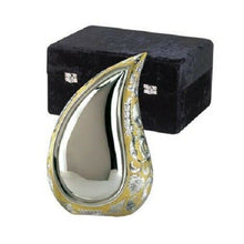 Load image into Gallery viewer, Set of 4 Silver & Gold Teardrop Cremation Urns - Adult, Pendant & 2 Keepsakes