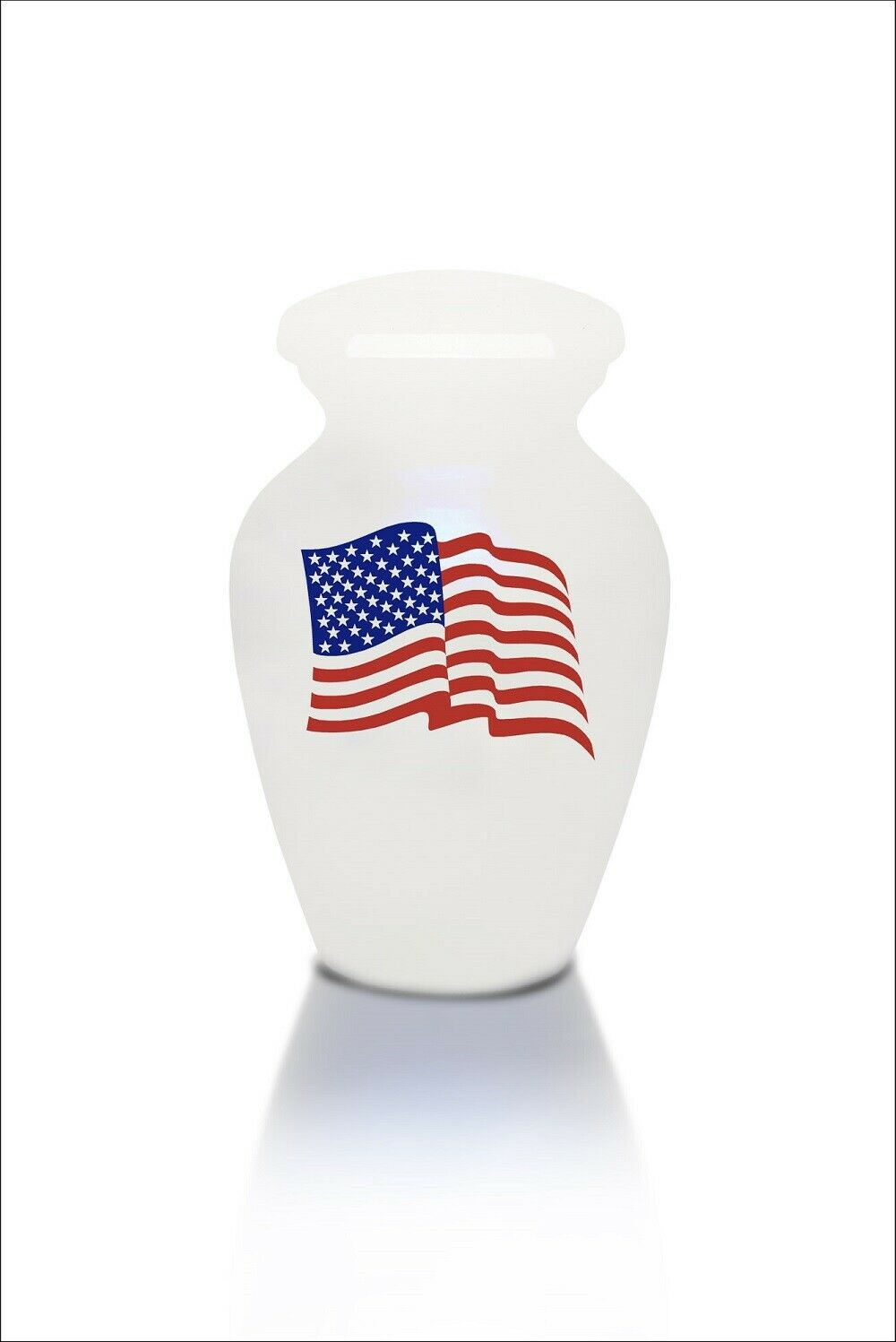 Extra Small 3 Cubic Inch White with American Flag Alloy Funeral Cremation Urn