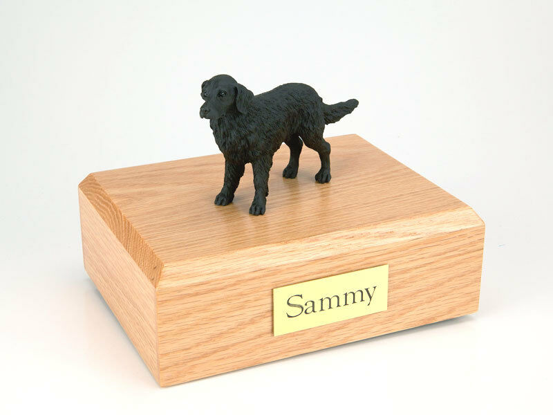 Flat Coated Retriever Pet Funeral Cremation Urn Avail in 3 Dif Colors & 4 Sizes