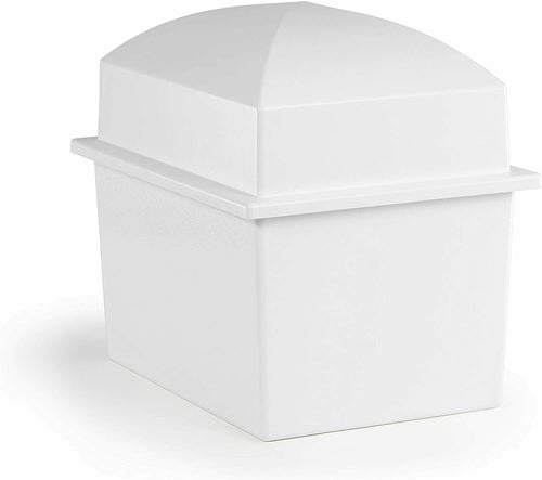 Extra-Large White Polymer Double Funeral Cremation Urn Burial Vault