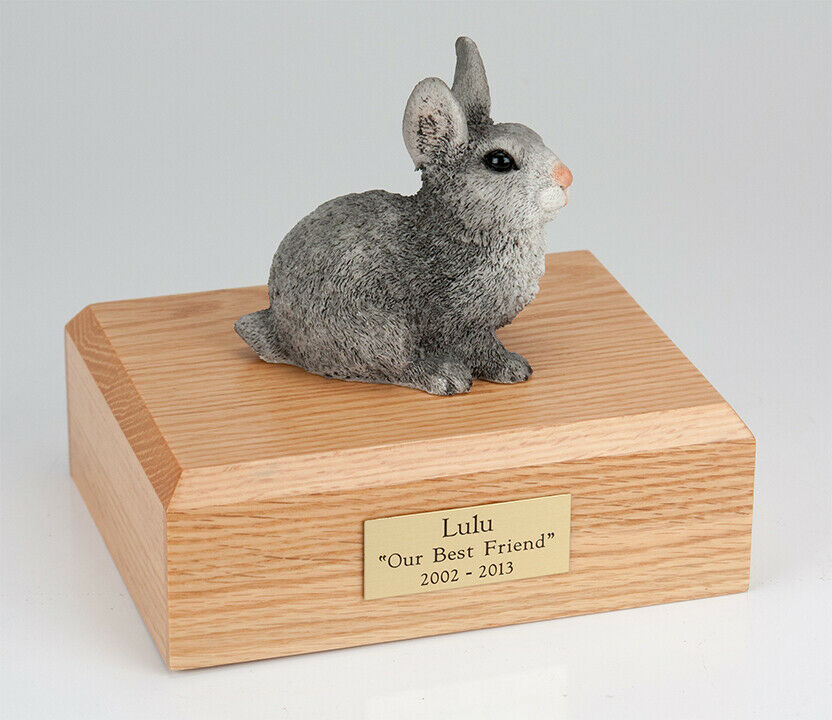Rabbit Gray Figurine Pet Cremation Urn Available in 3 Different Colors & 4 Sizes