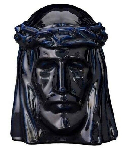 Extra-Large 311 Cubic Inch Cobalt Metallic Ceramic Christ Funeral Cremation Urn