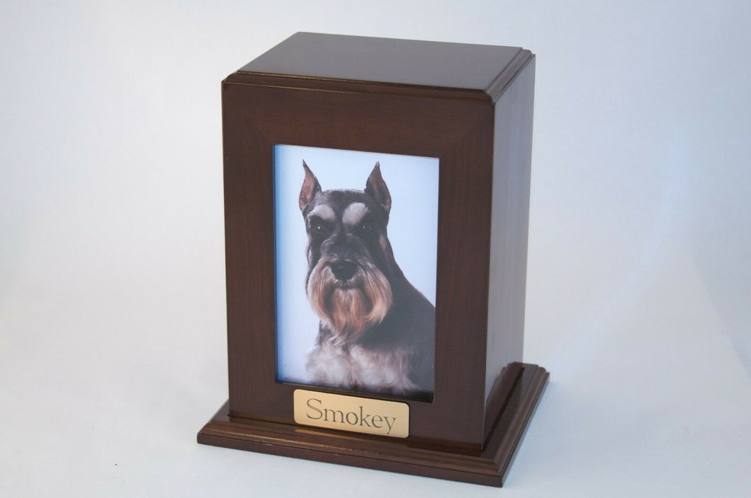 Large 104 Cubic Inches Walnut Framed Photo Urn for Ashes w/Engravable Nameplate