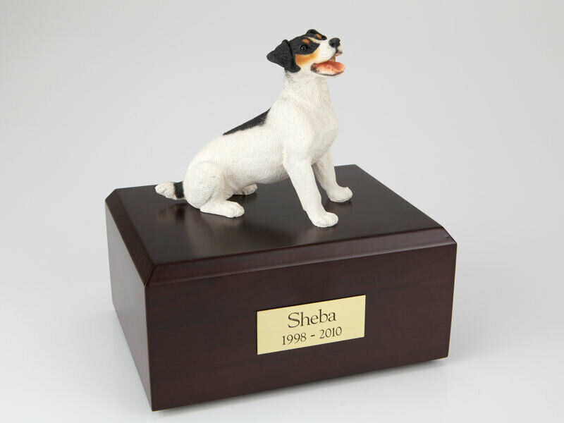 Jack Russell Terrier Black/Brown Pet Cremation Urn Avail. 3 Colors & 4 Sizes