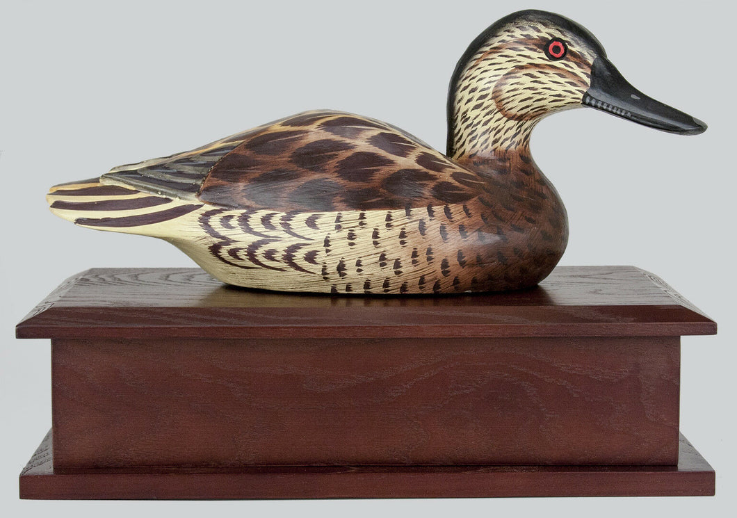 165 Cubic Ins Duck Decoy Urn - Female Coloring/Dark Ash Box for Cremation Ashes