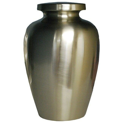 Large/Adult 205 Cubic Inch Brushed Nickel Cretian Funeral Cremation Urn