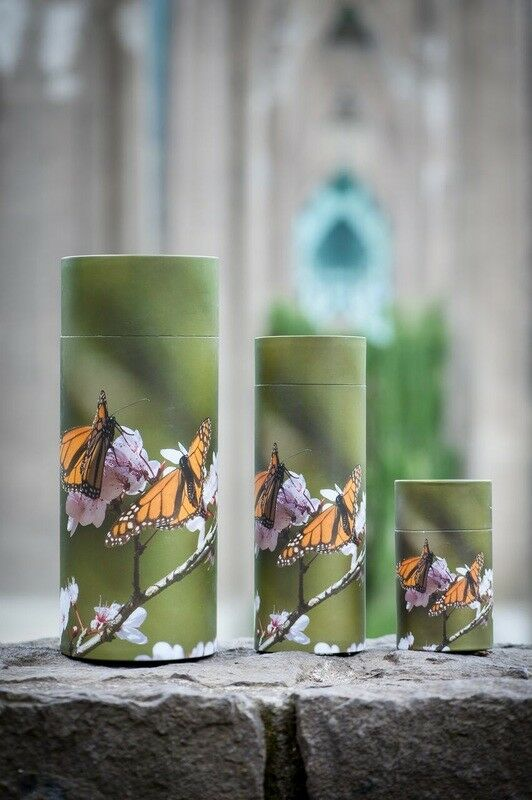 Set of Large, Med & Small Butterflies Scattering Tube Cremation Urns for Ashes