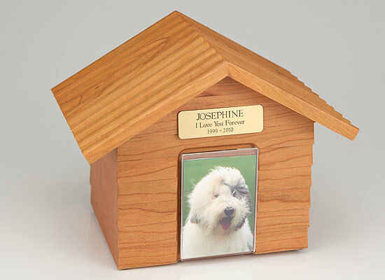 Large 120 Cubic Inches Oak Doghouse Urn for Ashes with Engravable Nameplate
