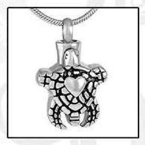 Silver Turtle Stainless Steel Funeral Cremation Urn Pendant w/Chain for Ashes