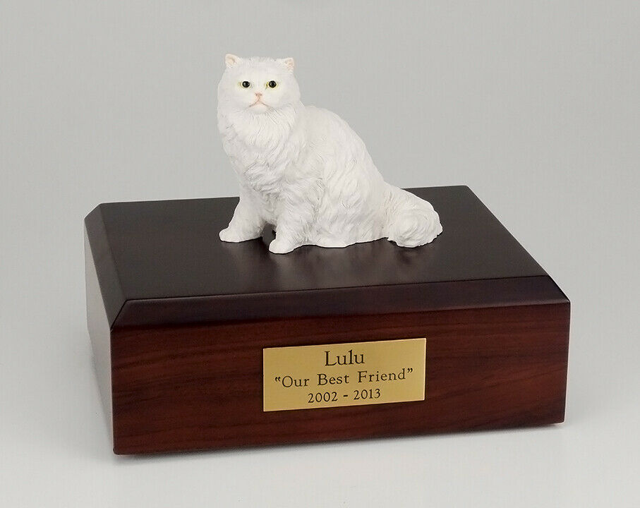 Persian White Cat Figurine Pet Cremation Urn Available 3 Dif. Colors & 4 Sizes