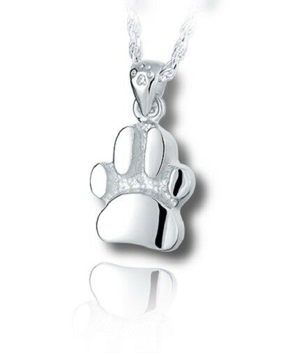 Sterling Silver Curved Paw Print Cremation Urn Pendant for Ashes w/Chain