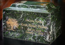 Load image into Gallery viewer, Small Cube Mist Gray Granite Keepsake Cremation Urn 18 Cubic Inches TSA Approved