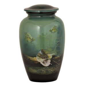 Large/Adult 210 Cubic Inch Metal Underwater Bass Funeral Cremation Urn