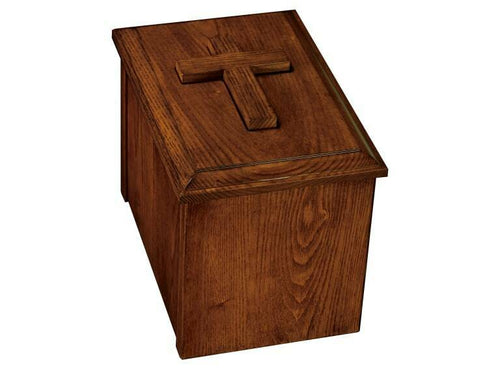 Howard Miller 800-230 (800230) Faith II Wood Funeral Cremation Urn Chest Cross