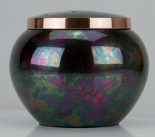 Load image into Gallery viewer, 45 Cubic Inches Teal Raku Brass Pawprint Pet Jar Urn for Cremation Ashes