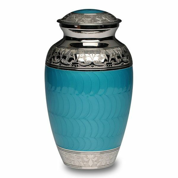 Large/Adult 200 Cubic Inch  Turquoise Brass Funeral Cremation Urn for Ashes