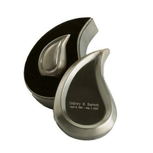 Small/Keepsake 3 Cubic Inches Tear Drop Pewter Cremation Urn with Engraved Case