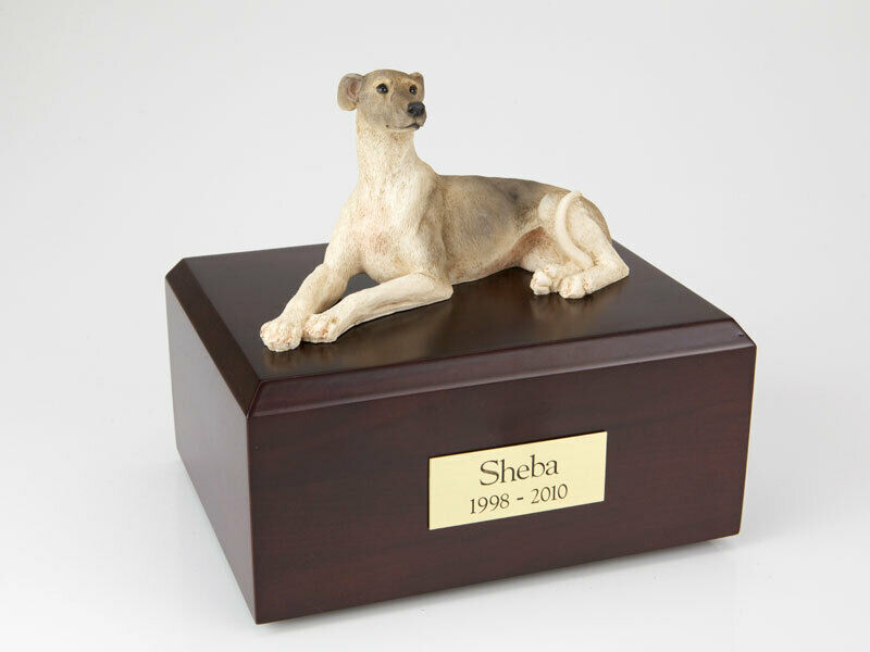 Greyhound Laying Pet Funeral Cremation Urn Available in 3 Diff Colors & 4 Sizes