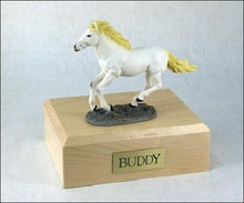 Load image into Gallery viewer, Horse White Figurine Funeral Cremation Urn Available in 3 Diff. Colors & 4 Sizes