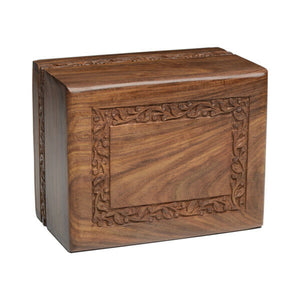 Extra-Large 315 Cubic Inch Rosewood Funeral Cremation Urn for Temp Container