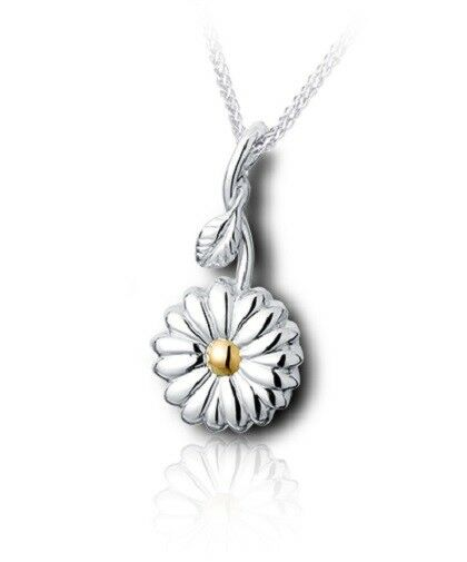 Sterling Silver & 10kt Gold Sunflower Funeral Cremation Urn Pendant w/Chain