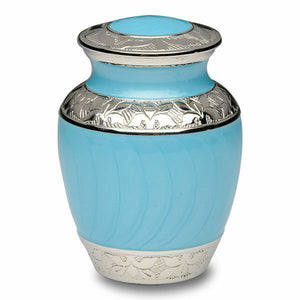 Extra-Small 15 Cubic Inch Blue Brass Funeral Cremation Urn for Ashes