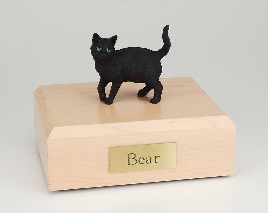 Short Hair Cat Black Figurine Pet Cremation Urn Available 3 Diff Colors 4 Sizes