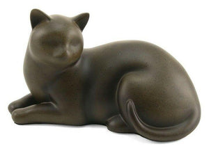 Small/Keepsake Sable Cozy Cat Resin Funeral Cremation Urn, 25 Cubic Inches