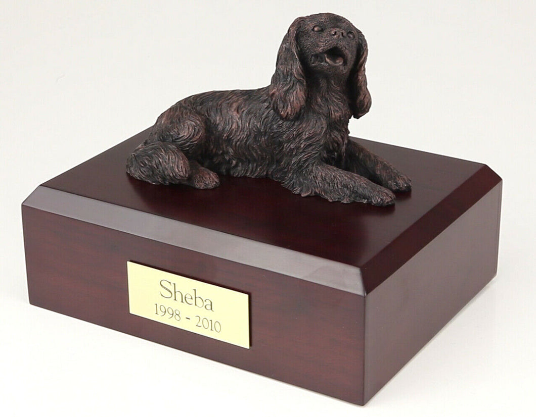 King Charles Spaniel Bronze Pet Cremation Urn Available 3 Diff Colors & 4 Sizes