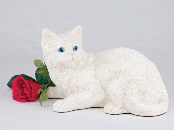 Small/Keepsake 62 Cubic Inches White Shorthair Cat Resin Urn for Ashes
