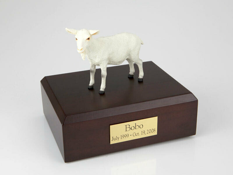 Goat White Figurine Wildlife Cremation Urn Available in 3 Diff. Colors & 4 Sizes