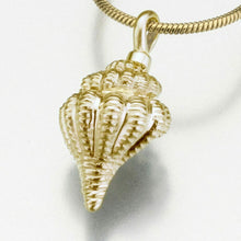 Gold Vermeil Conch Shell Memorial Jewelry Pendant Funeral Cremation Urn