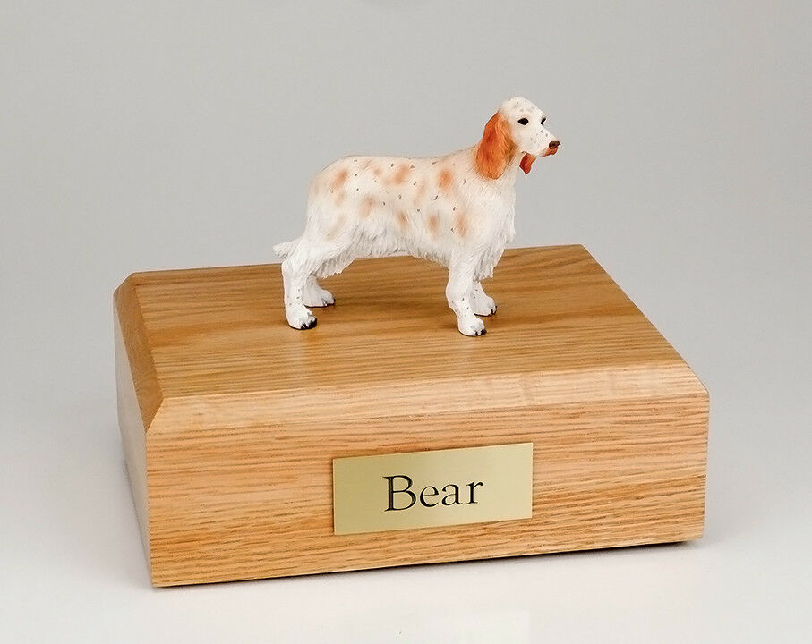 English Setter Pet Funeral Cremation Urn Avail. in 3 Different Colors & 4 Sizes