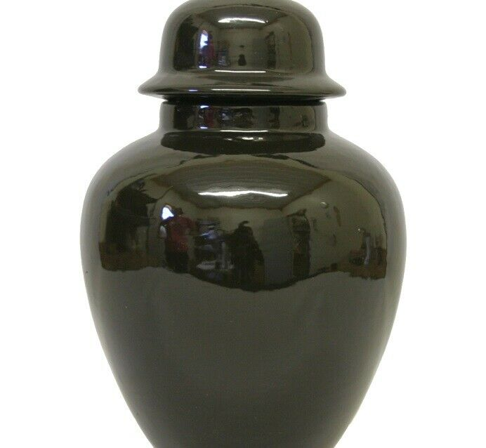 Small/Keepsake 58 Cubic Inch Black Ceramic Funeral Cremation Urn for Ashes