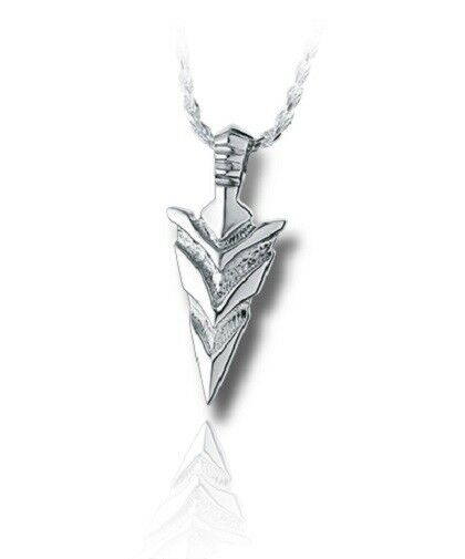 Sterling Silver Arrow Head Funeral Cremation Urn Pendant for Ashes w/Chain