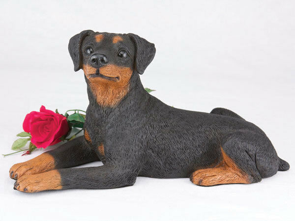 Large 104 Cubic Inches Black & Tan Miniature Pinscher Resin Urn, Ears Down