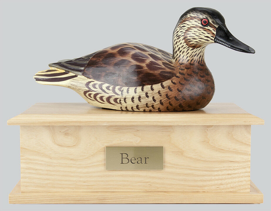 115 Cubic Ins Duck Decoy Urn - Female Coloring/Light Ash Box for Cremation Ashes