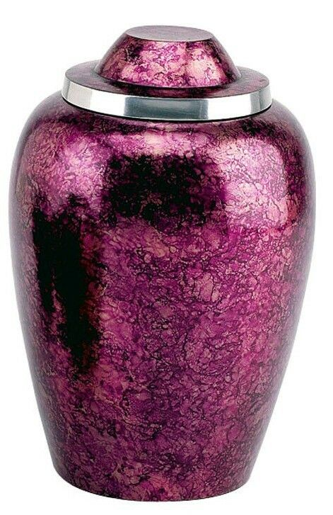 Small 43 Cubic Ins Burgundy Alloy Funeral Cremation Urn for Ashes w/Velvet Pouch