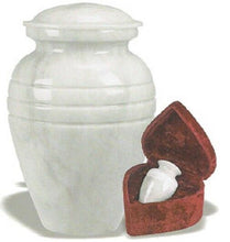 Load image into Gallery viewer, Set of Adult (205 cubic inch) & Keepsake (3 inch) Marble Funeral Cremation Urns