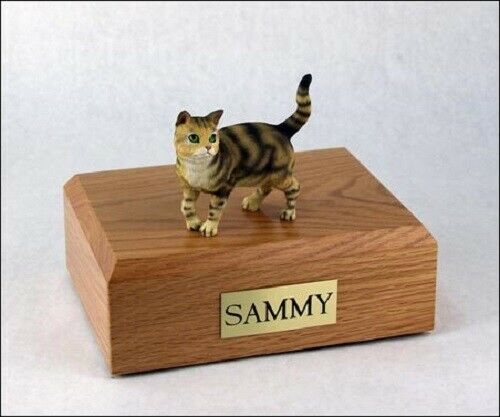 Tabby Brown Shorthair Cat Figurine Pet Cremation Urn Avail 3 Dif Colors/4 Sizes