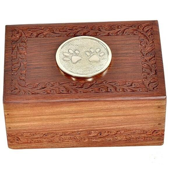Small/Keepsake 80 Cubic Inch Rosewood/Brass Paw Prints Pet Funeral Cremation Urn