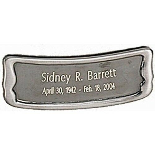 Personalized Brushed Pewter Name-Plate Medallion for Cube & Box Cremation Urns