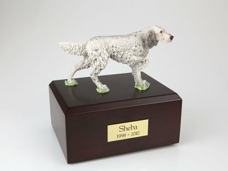 English Setter Standing Pet Funeral Cremation Urn Avail in 3 Dif Colors & 4 Size
