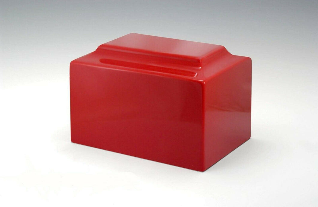 Red Cultured Marble Keepsake Cremation Urn For Ashes 25 Cubic Inches TSA Approved