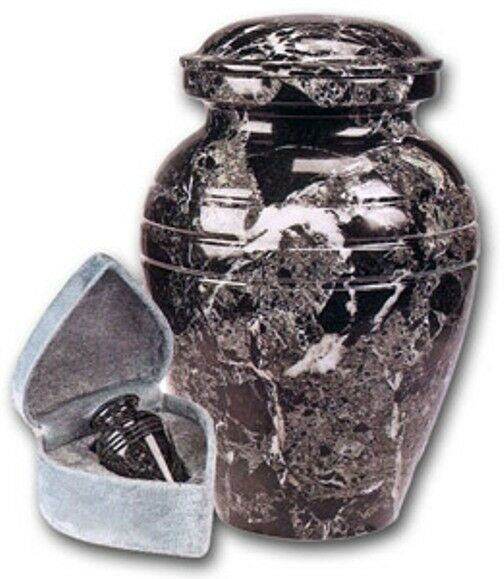 Set of Adult (205 cubic inch) & Keepsake (3 inch) Marble Funeral Cremation Urns