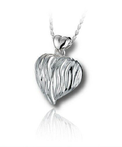 Sterling Silver Sand Dune Heart Funeral Cremation Urn Pendant for Ashes w/Chain