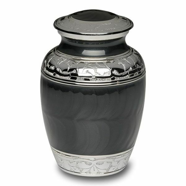 Small/Keepsake 30 Cubic Inch Charcoal Black Brass Funeral Cremation Urn for Ashes