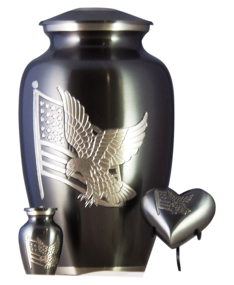 American Flag Funeral Cremation Urn For Ashes, Set of 3 - Adult, Keepsake, Heart
