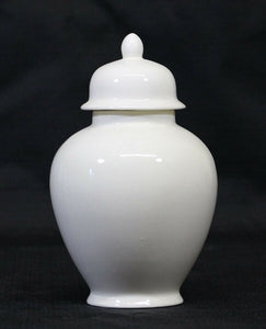 Small/Keepsake 58 Cubic Inch Ivory Ceramic Funeral Cremation Urn for Ashes