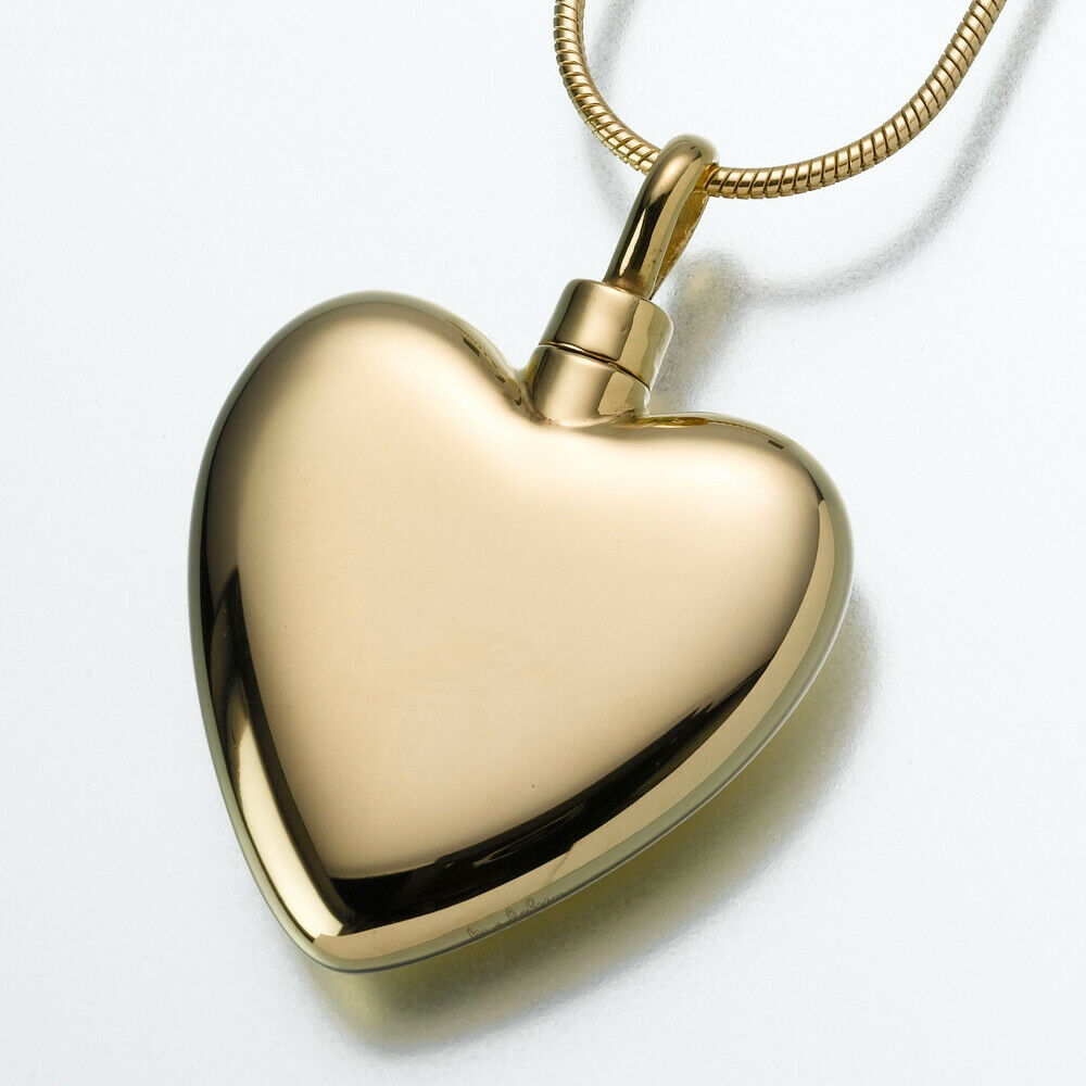 Gold Vermeil Large Heart Memorial Jewelry Pendant Funeral Cremation Urn